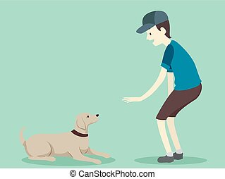 Illustration of a Man Teaching His Pet Dog the Lie Down Command