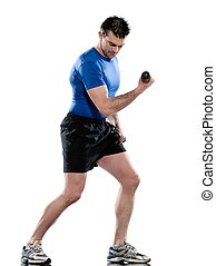 man doing biceps workout on white isolated backgroun