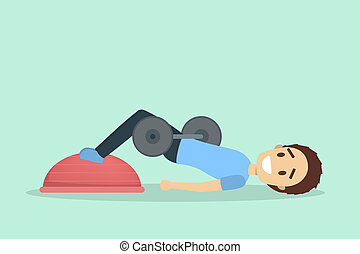 Man doing butt workout with dumbbell and bosu