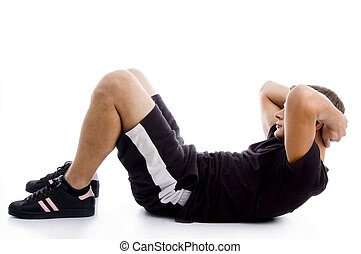 man doing crunches with white background