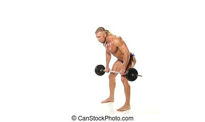 Man Doing Exercise For Back With Barbell. Man Doing Heavy Weight Exercise For white