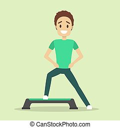 Man doing exercise on step. Cardio workout and aerobics