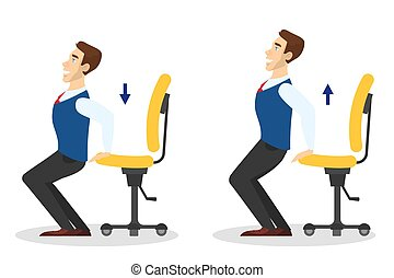 Man doing exercise with chair in office