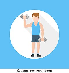 Man doing exercises with barbell