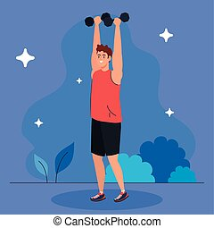 man doing exercises with dumbbells outdoor, sport exercise recreation