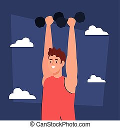 man doing exercises with dumbbells outdoor, sport recreation
