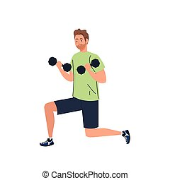 man doing exercises with dumbbells, recreation exercise sport