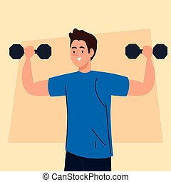 man doing exercises with dumbbells, sport recreation concept