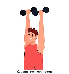 man doing exercises with dumbbells, sport recreation exercise
