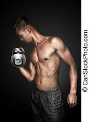 Man doing exercising lifting weights on black background