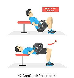 Man doing hip thrusts exercise with barbell. Athletic workout with weight. Fitness and healthy lifestyle. Muscle building, butt workout. Vector illustration in cartoon style
