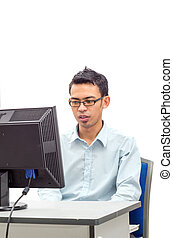 Man doing his works at personal computer
