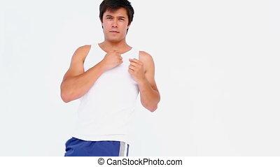 Man doing kick boxing