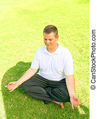 Man Doing Meditate And Smiling