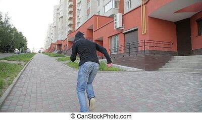 Man doing parkour- fast run