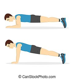 Man doing plank in the gym. Belly burn workout. Guy make exercise. ABS workout. Healthy and active lifestyle. Isolated vector illustration