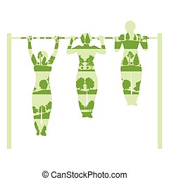 Man doing pull up exercise with rod vector background concept made of forest trees fragments isolated