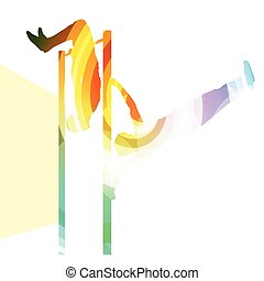 Man doing pull-up on bar silhouette illustration background colorful concept