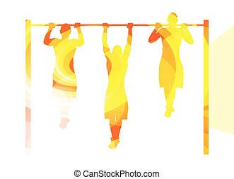 Man doing pull-up on bar silhouette illustration background ...