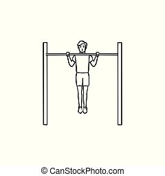 Man doing pull-ups hand drawn outline doodle icon. - Man ...