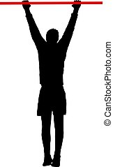 Man doing pull-ups silhouette on a white background.