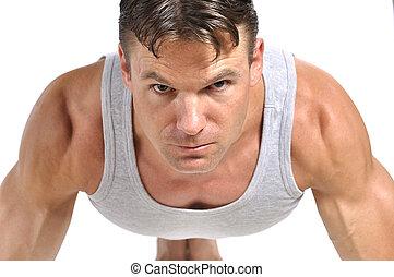 Man doing pushup - Closeup of intense fit athletic man in...
