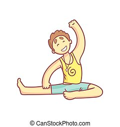 Man Doing Side Stretching Yoga Pose