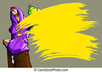 illustration of cool guy showing bottle of spray paint