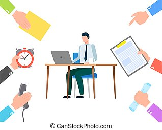 Man Doing Tasks on Laptop, Busy Manager at Office