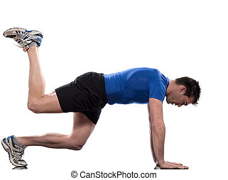 man doing workout on white isolated backgroun