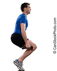 man doing workout squat on white isolated backgroun