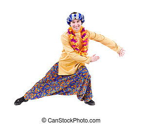 man doing yoga exercise with pointing gesture. Isolated on...