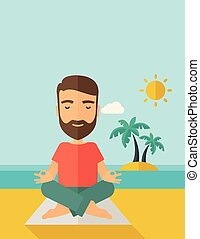 Man doing yoga in the beach