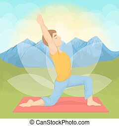 Man doing yoga. - Man doing yoga in the montains. Meditation...