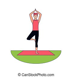 man doing yoga outdoors icon over white background, colorful design, vector illustration