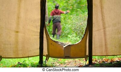 Travelling up, seen from inside a teepee