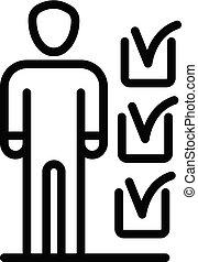 Man donate checklist icon, outline style