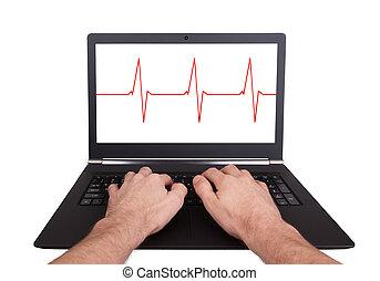 man, doorwerken, draagbare computer, hartslag