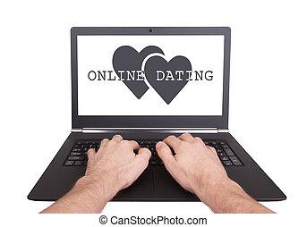 man, doorwerken, draagbare computer, online daterend