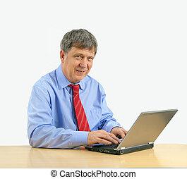 man, doorwerken, draagbare computer