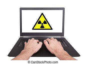 man, doorwerken, draagbare computer, straling