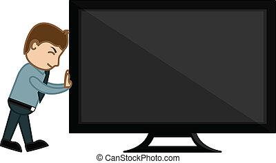 Man Dragging the Monitor Vector