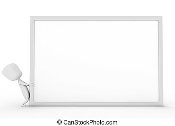 whiteboard clipart black and white. man dragging white board - 3d illustration of a dragging. whiteboard clipart black and