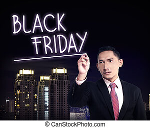 Man Draw Black Friday Text