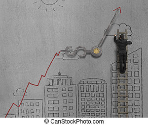 Man drawing cityscape and growing arrow with clock hands
