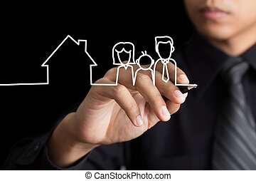 Man drawing family and a house
