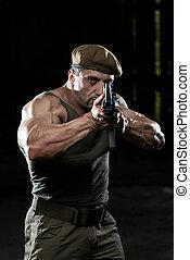 Man Drawing Machine Gun In Self Defense