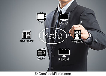 Man drawing media Icons diagram - Business man drawing media...