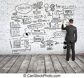 man drawing strategy