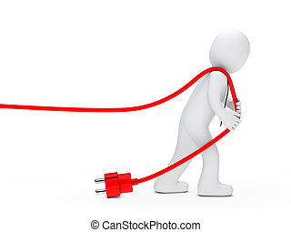 man draws a cable - 3d man with tie draws red cable
